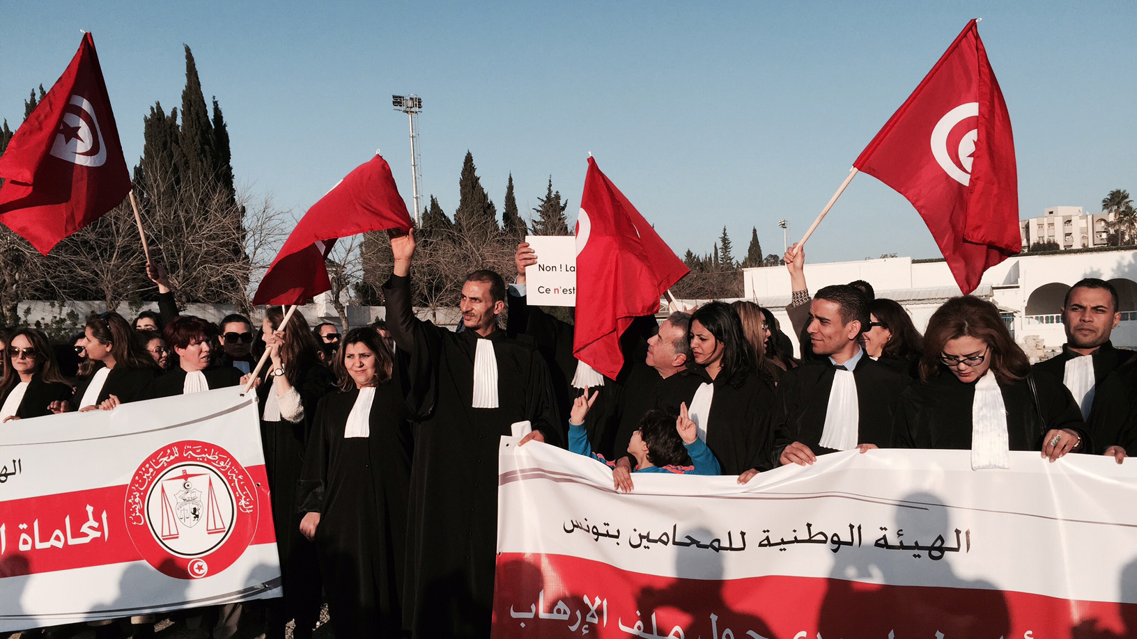 Lawyers at a protest in Tunis against extremism on March 19, 2015, a day after gunmen killed more than 20 people in the Tunisian capital.