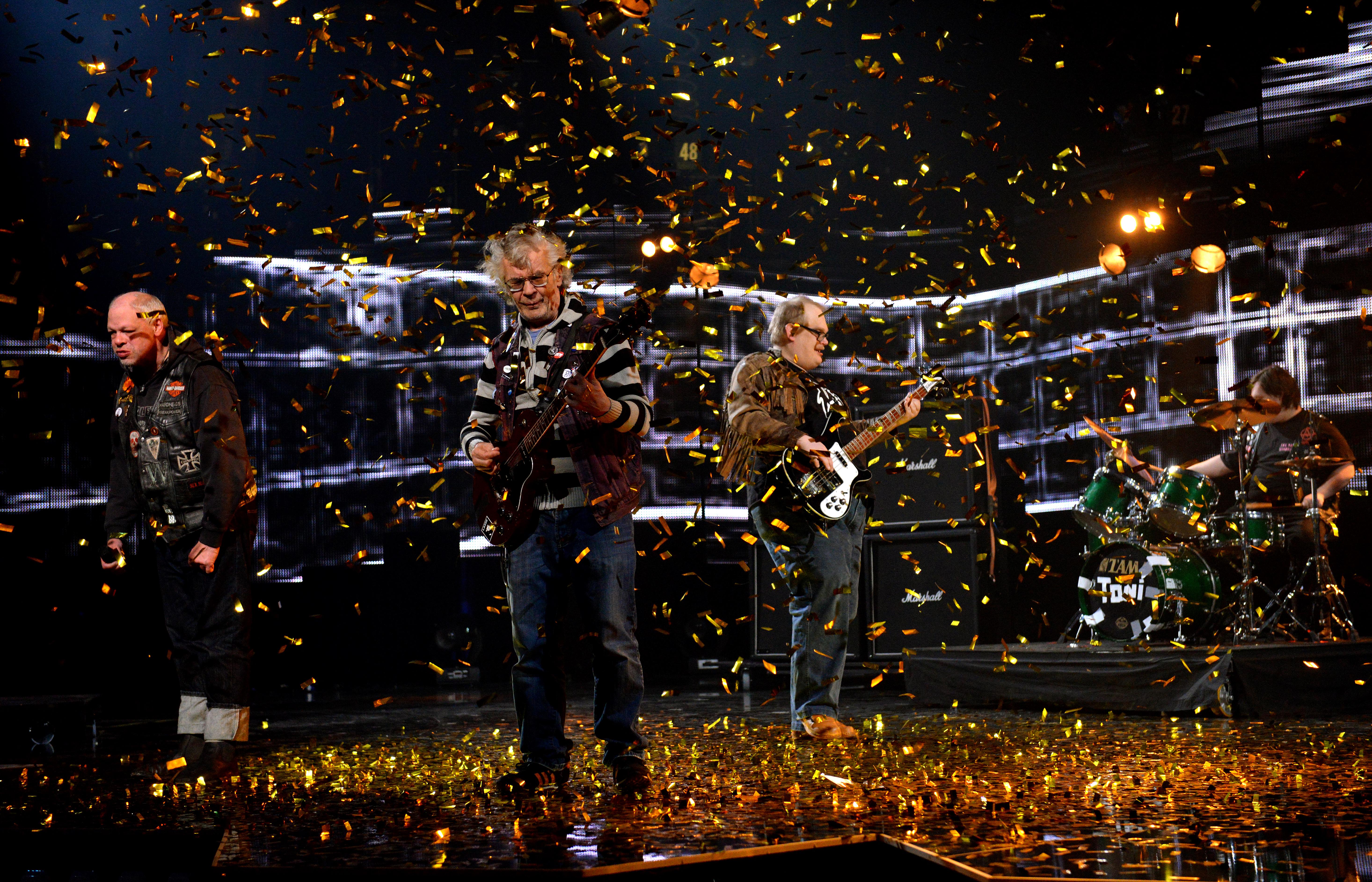 """Pertti Kurikan Nimipäivät won Finland's Eurovision vote with their performance of """"Aina Mun Pitää,"""" or """"I Always Have To."""" From left: Kari Aalto, Pertti Kurikka, Sami Helle, and Toni Välitalo."""