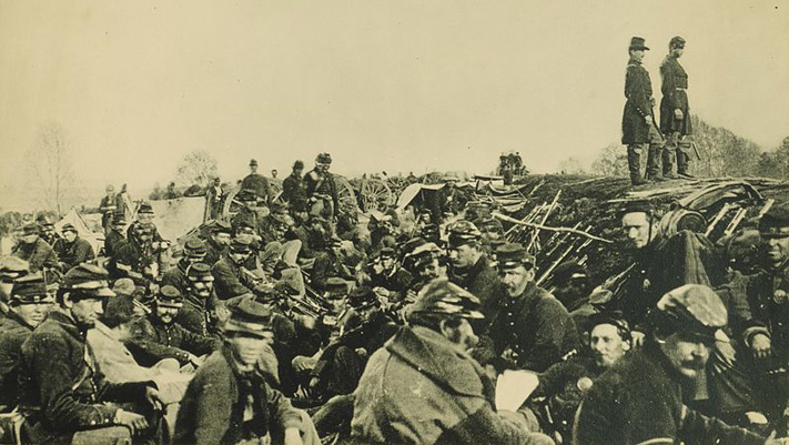 Union soldiers entrenched along the west bank of the Rappahannock River at Fredericksburg, Virginia.