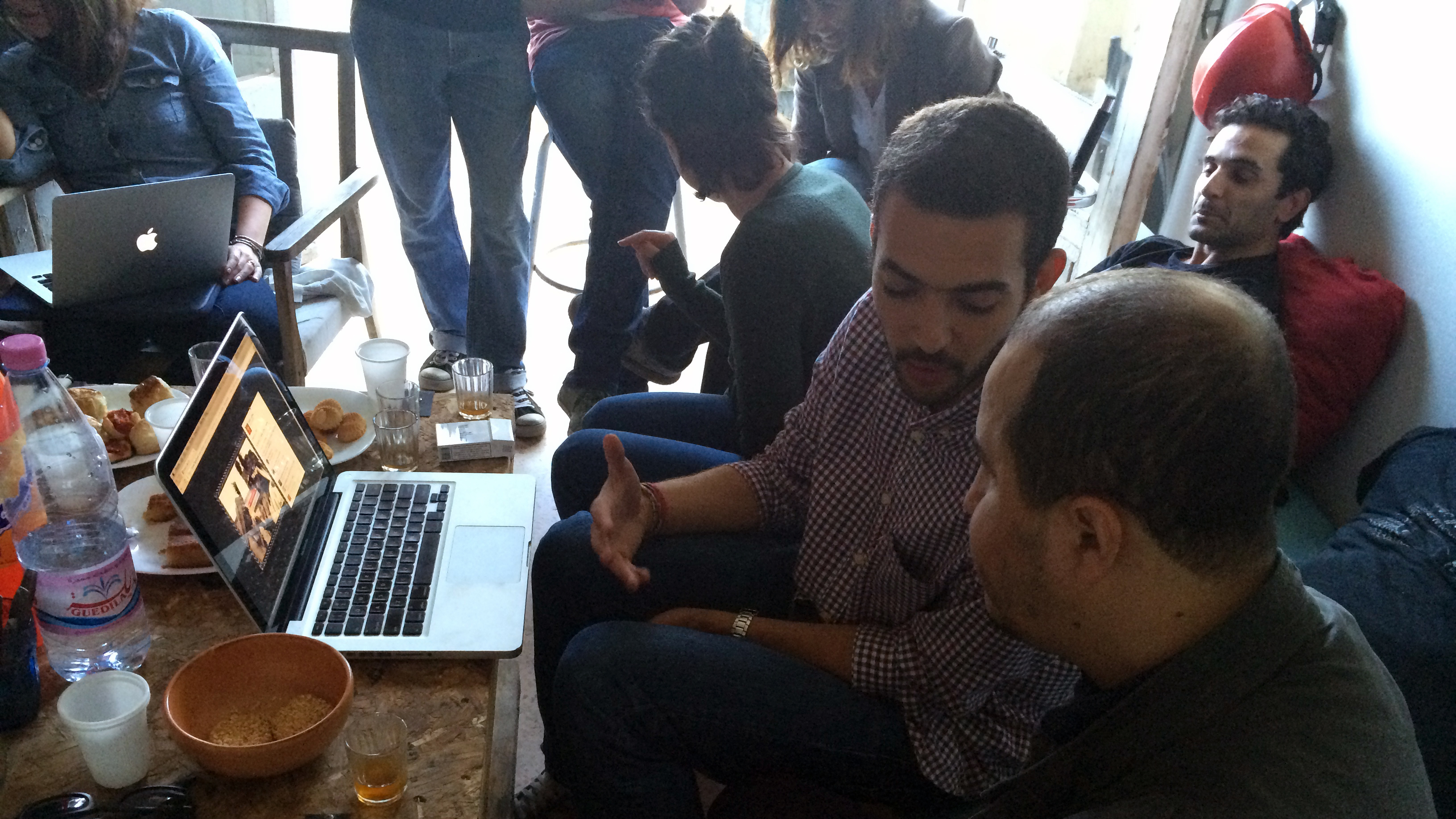 Algeran artists exchange ideas at BOX 24, an artist collective in Algiers.