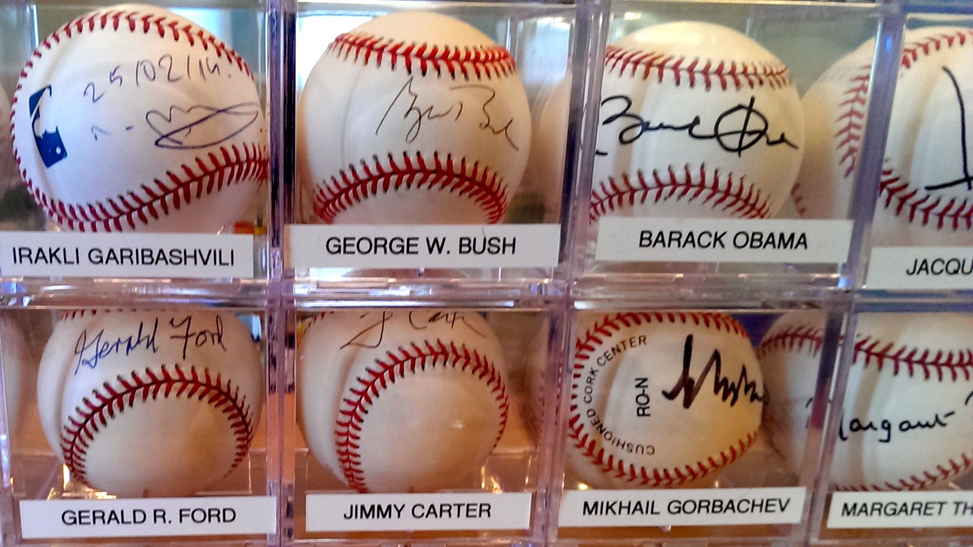 Some of the top names from the autograph collection of Randy Kaplan. He launched his collection in 1996, with the autograph of Bill Clinton, and has gathered 130 autographed baseballs to date.