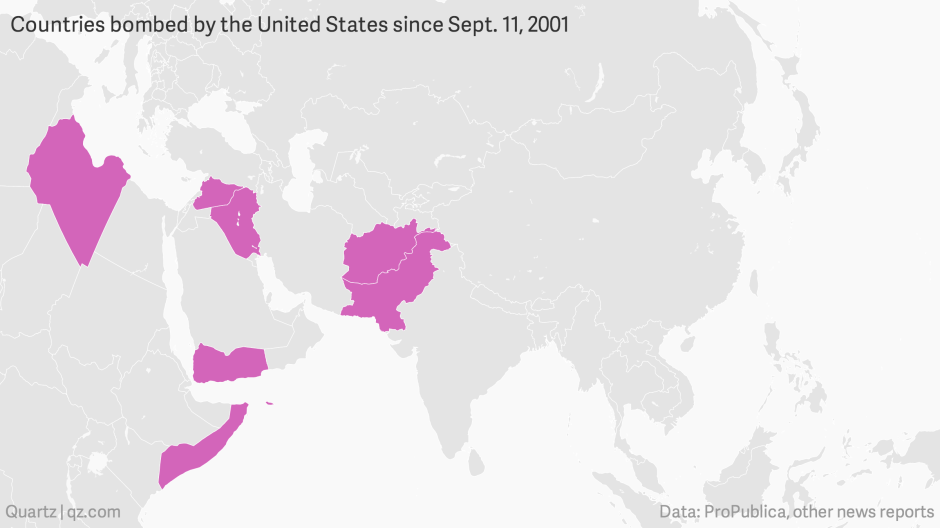 Countries Bombed By The United States Since Sept 11 2001 Mapbuilder Png