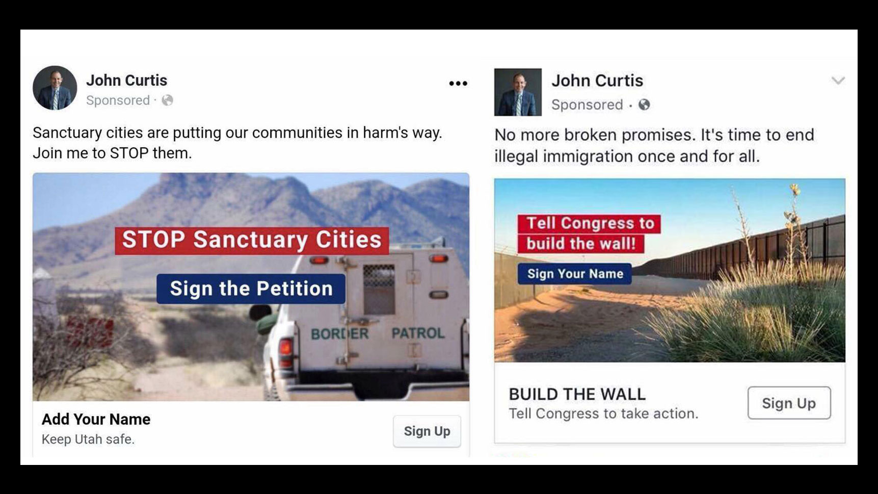 screenshots of two advertisements of Facebook posts by John Curtis