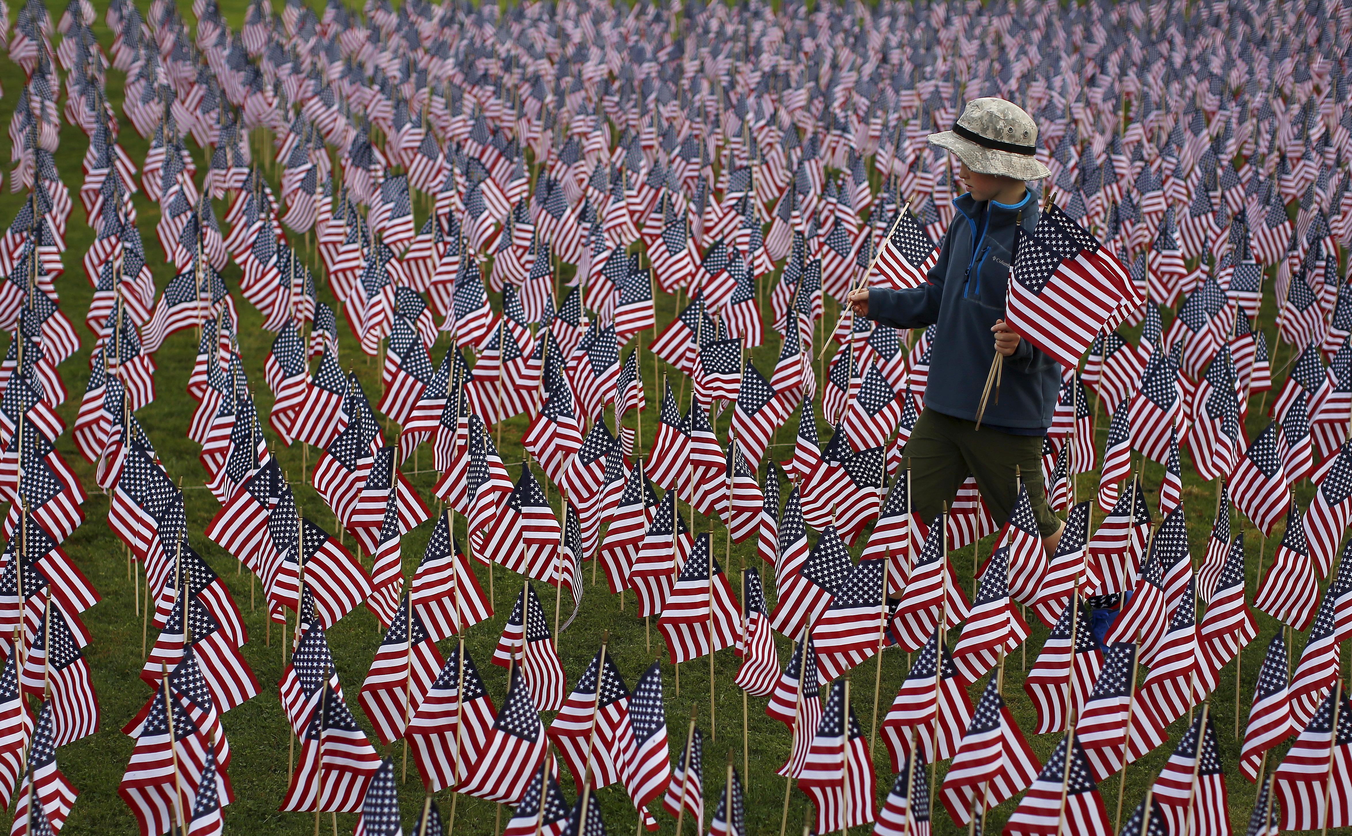 Boy walks among flags