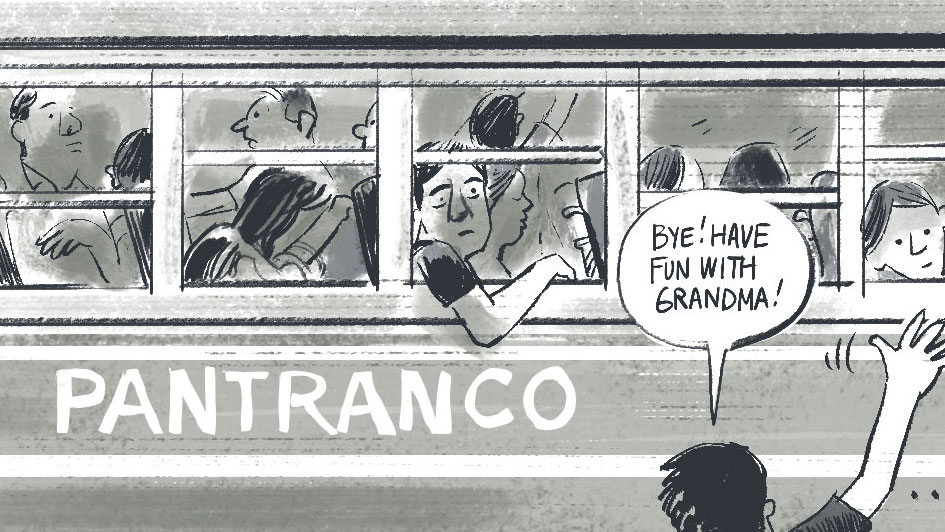"Someone waves goodbye to a bus and a speech bubble says ""Bye! Have fun with grandma!"" in this cartoon."