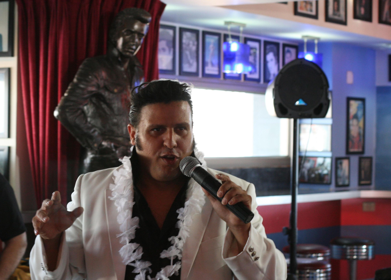 """House Elvis,"" Eran Levron, performs at The Elvis Inn in Neve Illan, Israel."
