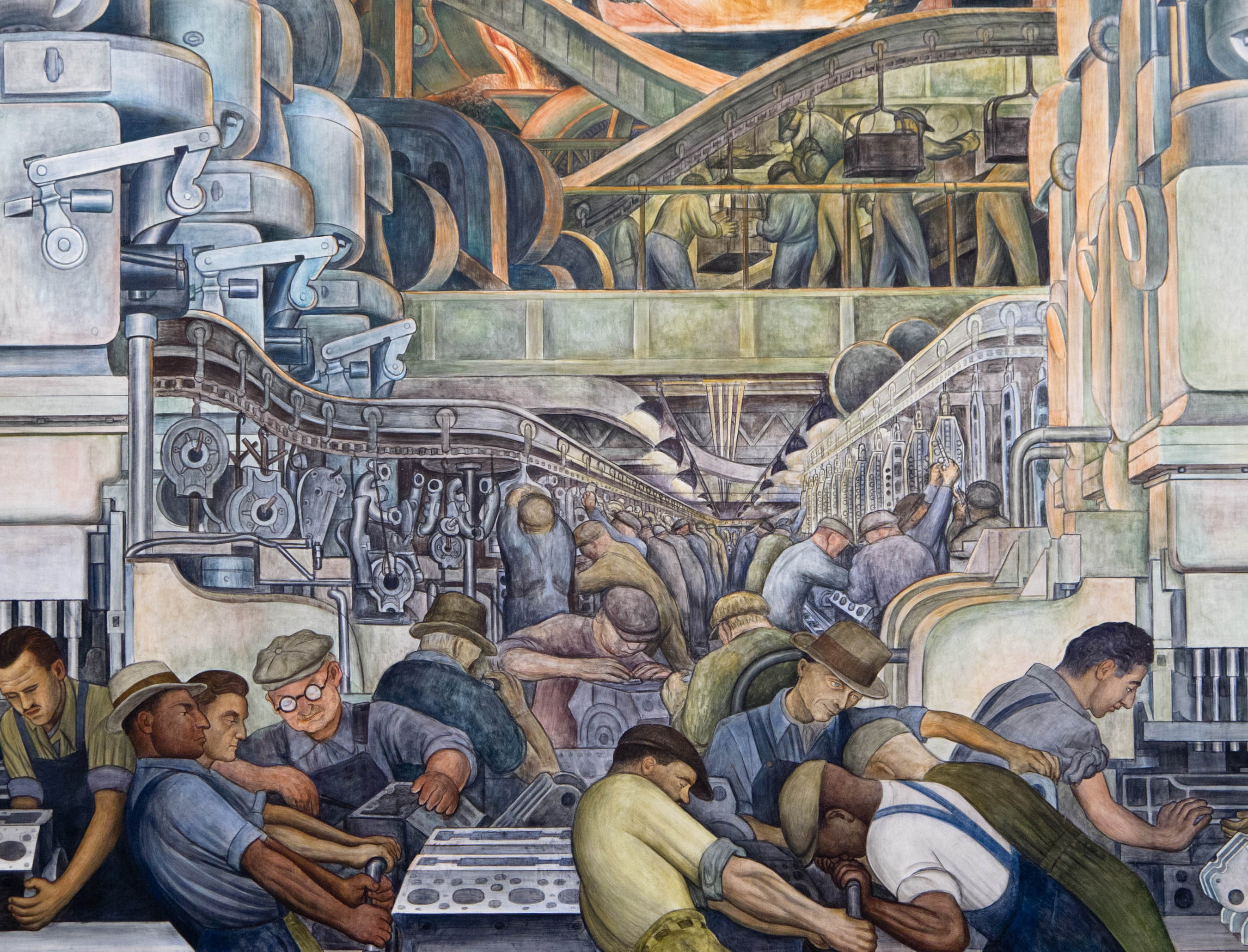 mexican artist diego rivera s painting sings the praises of a image 258detroit industry north wall detail jpg