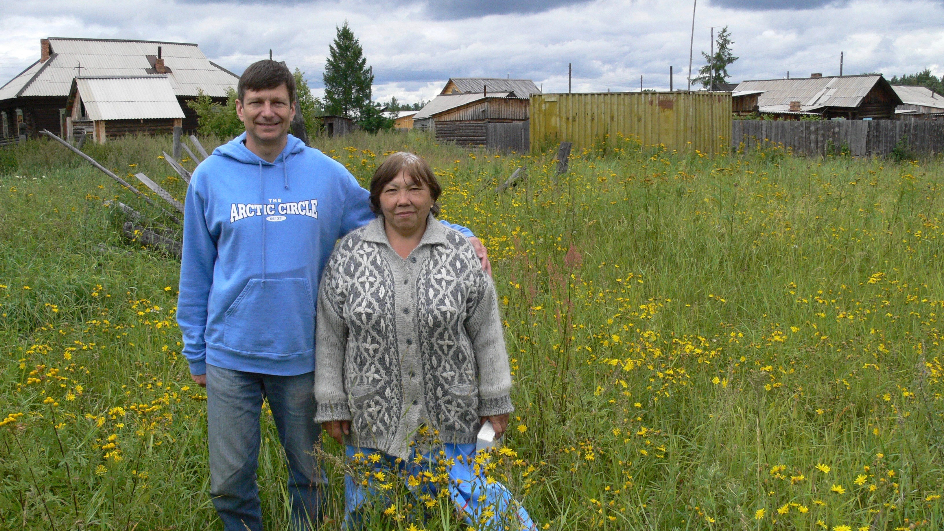 Linguist Edward Vajda with a Ket woman in her home village in Siberia, Russia.