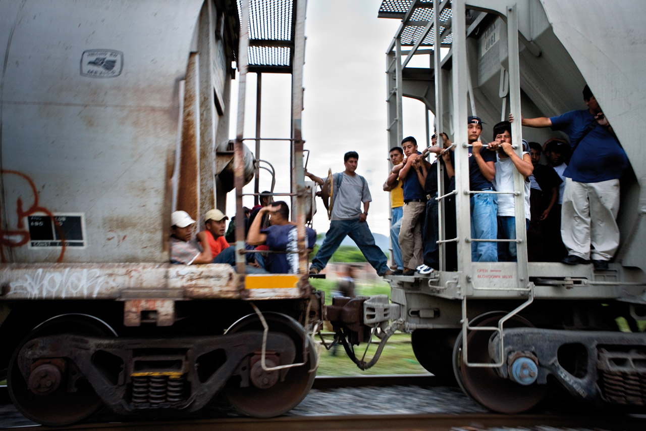 "Migrants, mostly from Central America, take trains nicknamed ""The Beast"" through Mexico to the US border."
