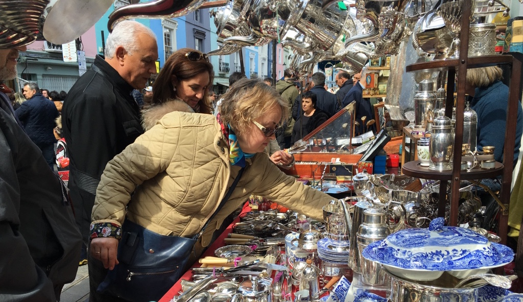 Shoppers at the famous Portobello market in London.
