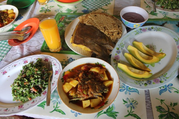 A meal prepared by Joyce Kayongo in Uganda, with native tilapia and greens from a low-tech aquaponic system designed by her husband, Charles Mulamata.  Although they live in the city, nearly all the ingredients were sourced from the neighborhood.