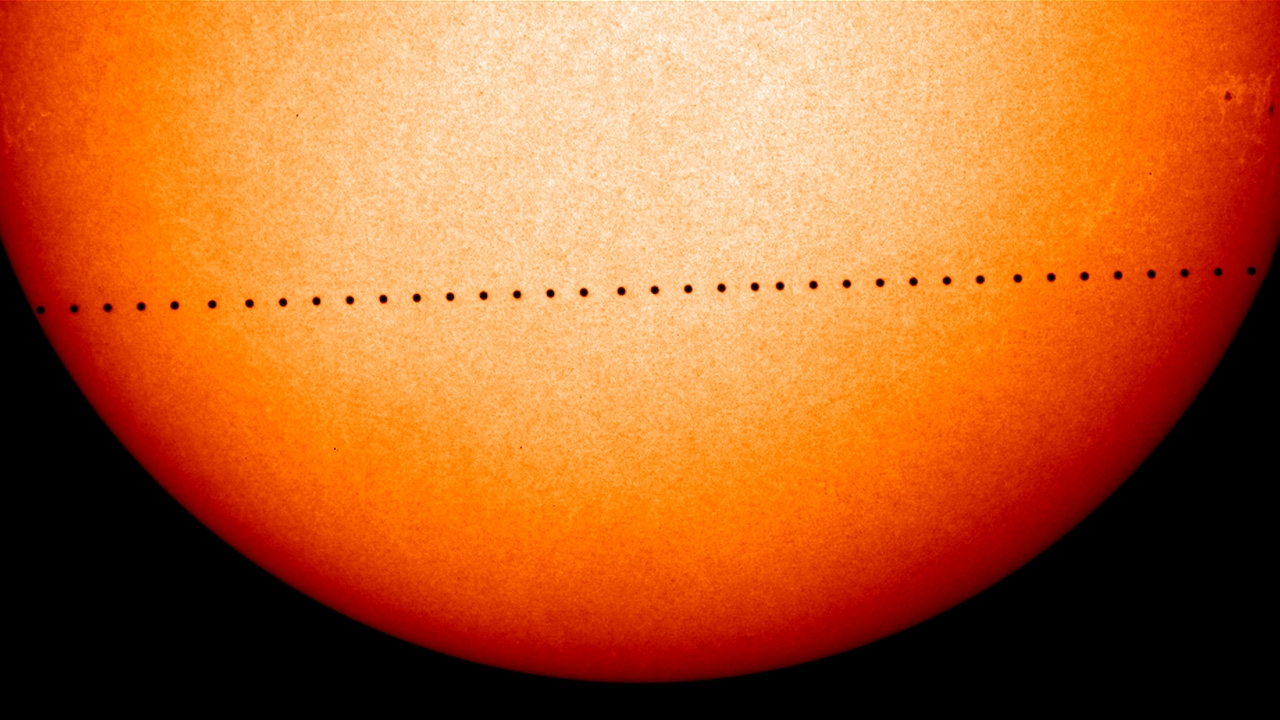 The 2016 Mercury planetary transit is seen in a NASA conceptual image, made of many images captured by the Solar and Heliospheric Observatory (SOHO) during the last Mercury transit in 2006. Mercury will pass between Earth and the sun in the rare astronomi