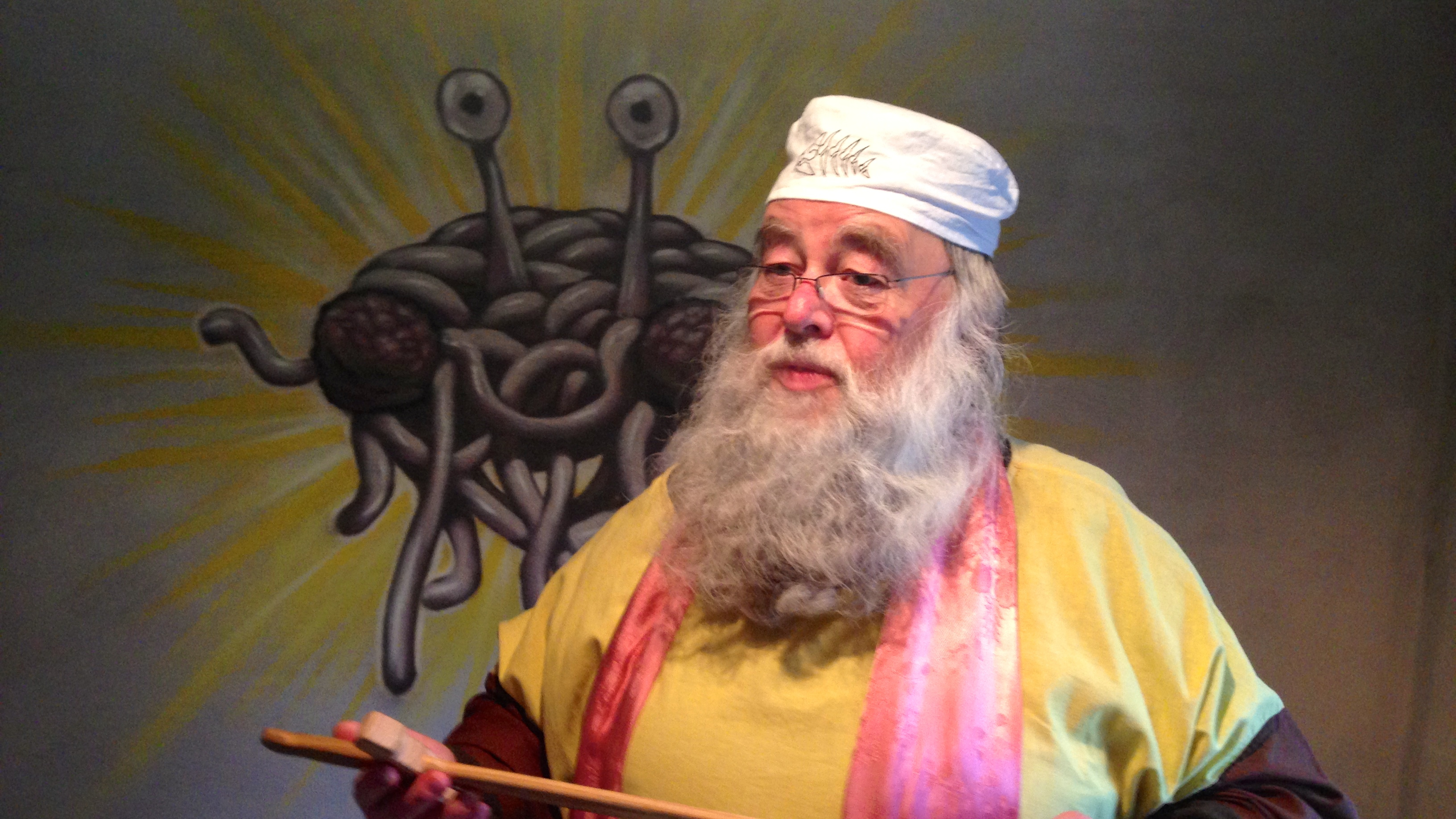 """Rüdiger Weida, aka """"Bruder Spaghettus"""", founded a church dedicated to the worship of """"the Flying Spaghetti Monster"""" in Templin, Germany."""
