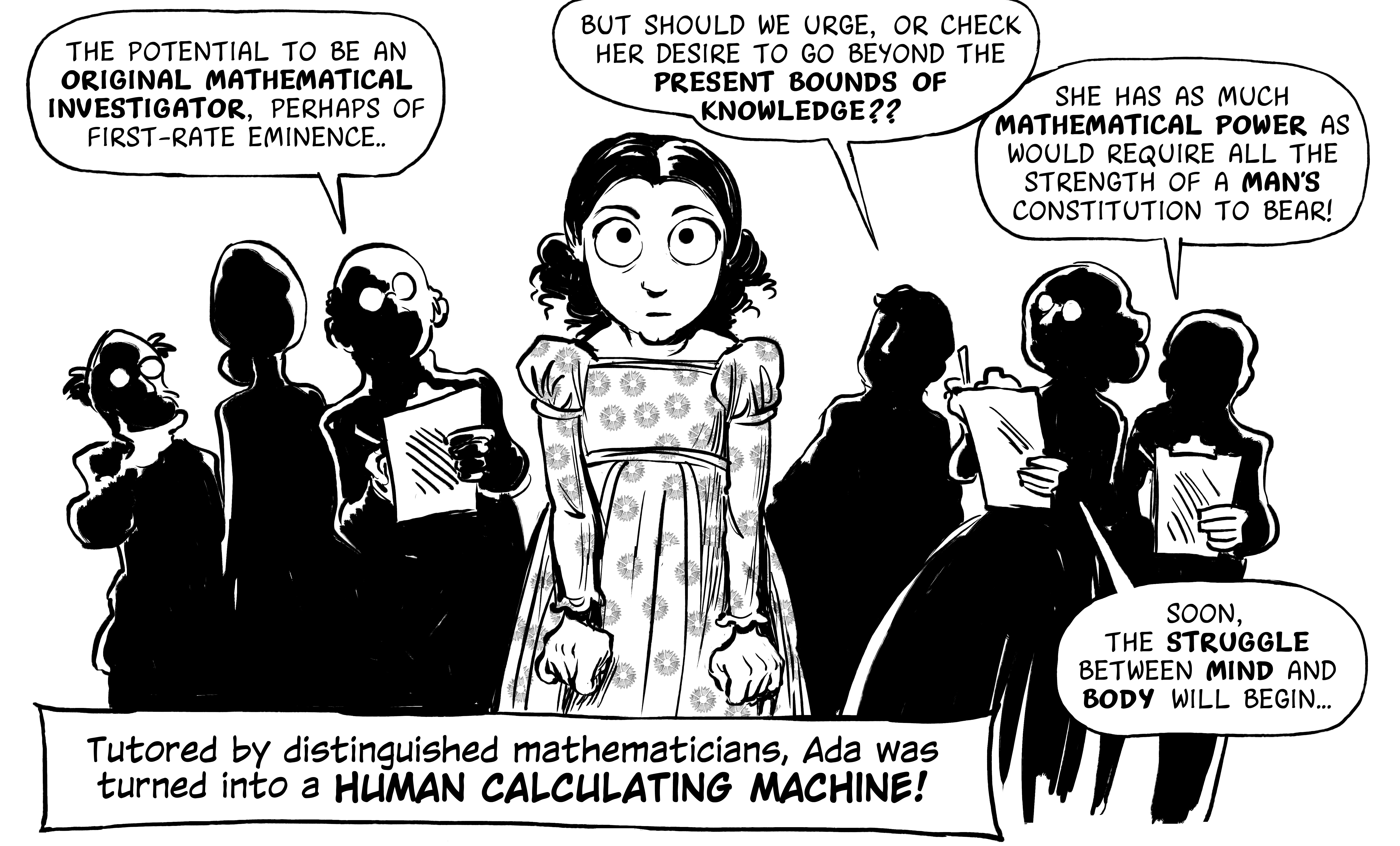 """A panel from """"The Thrilling Adventures of Lovelace and Babbage"""" graphic novel."""