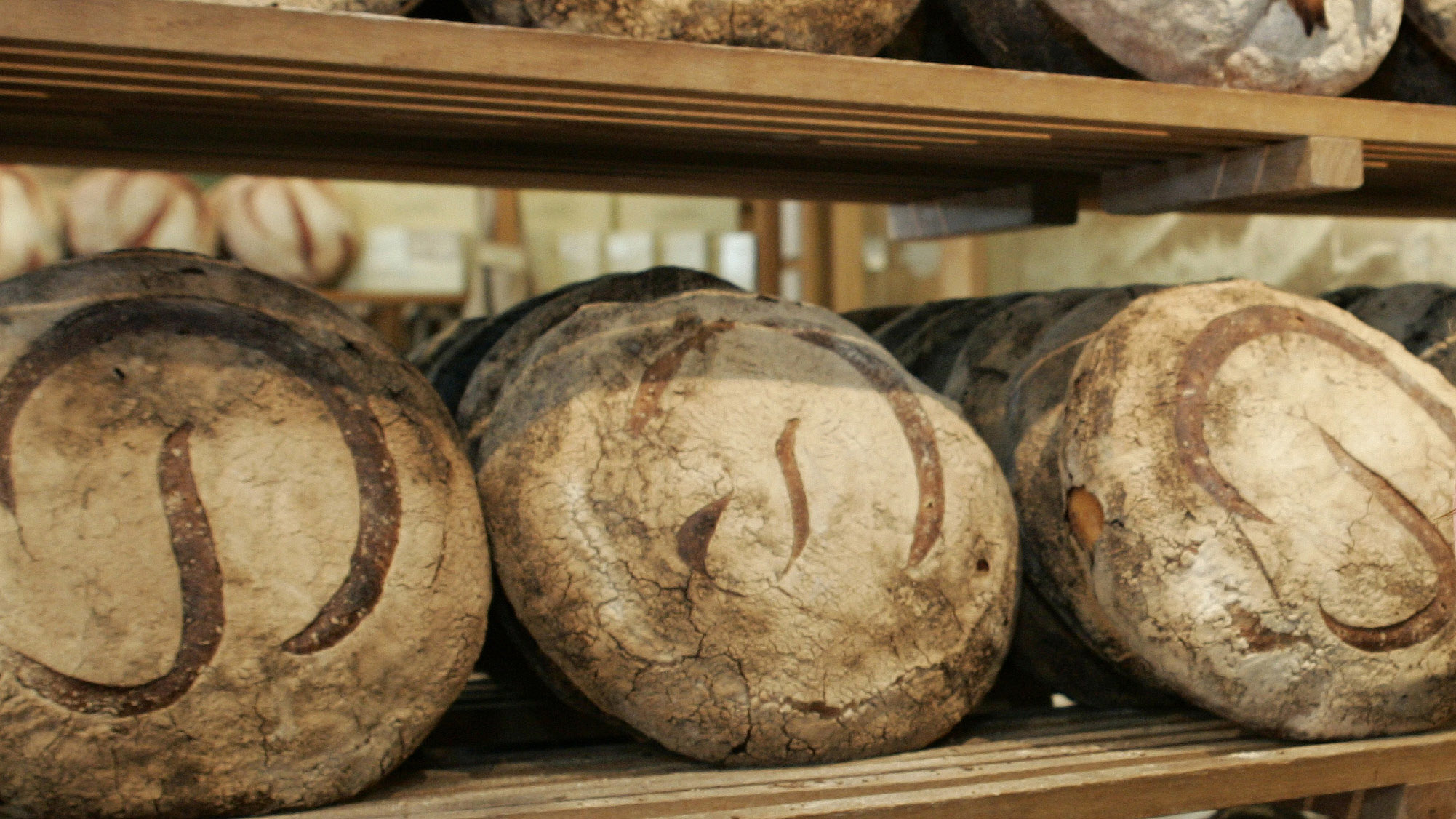 Freshly baked Miche line the walls at the original Poilane family bread bakery in Paris.