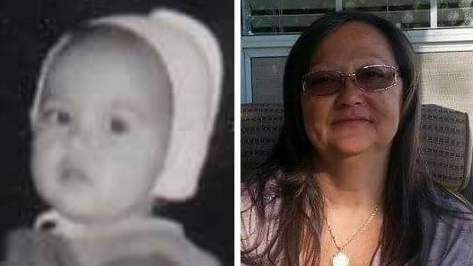 Two images, one of an infant in black and white and one of a woman