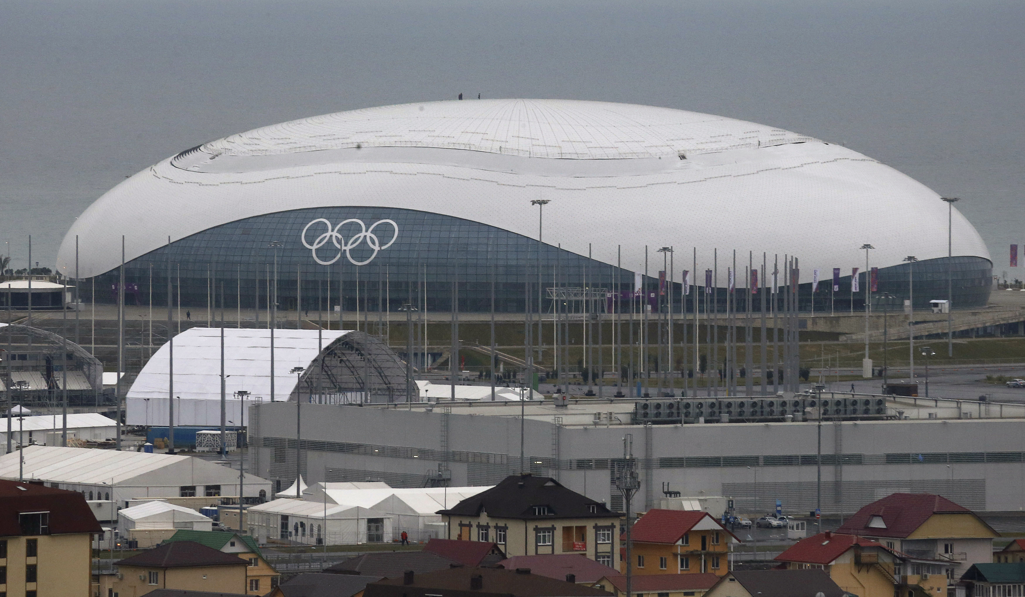 A view of the Bolshoi Ice Palace in the Adler district of Sochi. The building is the hockey venue for the Sochi 2014 Olympics, which begin on February 7th. After the Olympics, it will serve as a sports arena and concert venue.