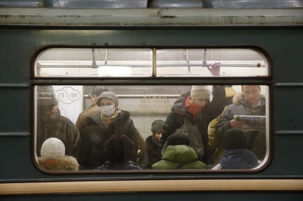 A woman wearing a face mask on the subway in Moscow, Russia, Jan. 28.