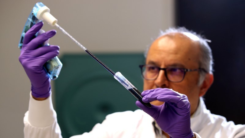 Professor Ketan Patel works in the lab at MRC Laboratory of Molecular Biology in Cambridge, Britain, Jan. 2, 2018.