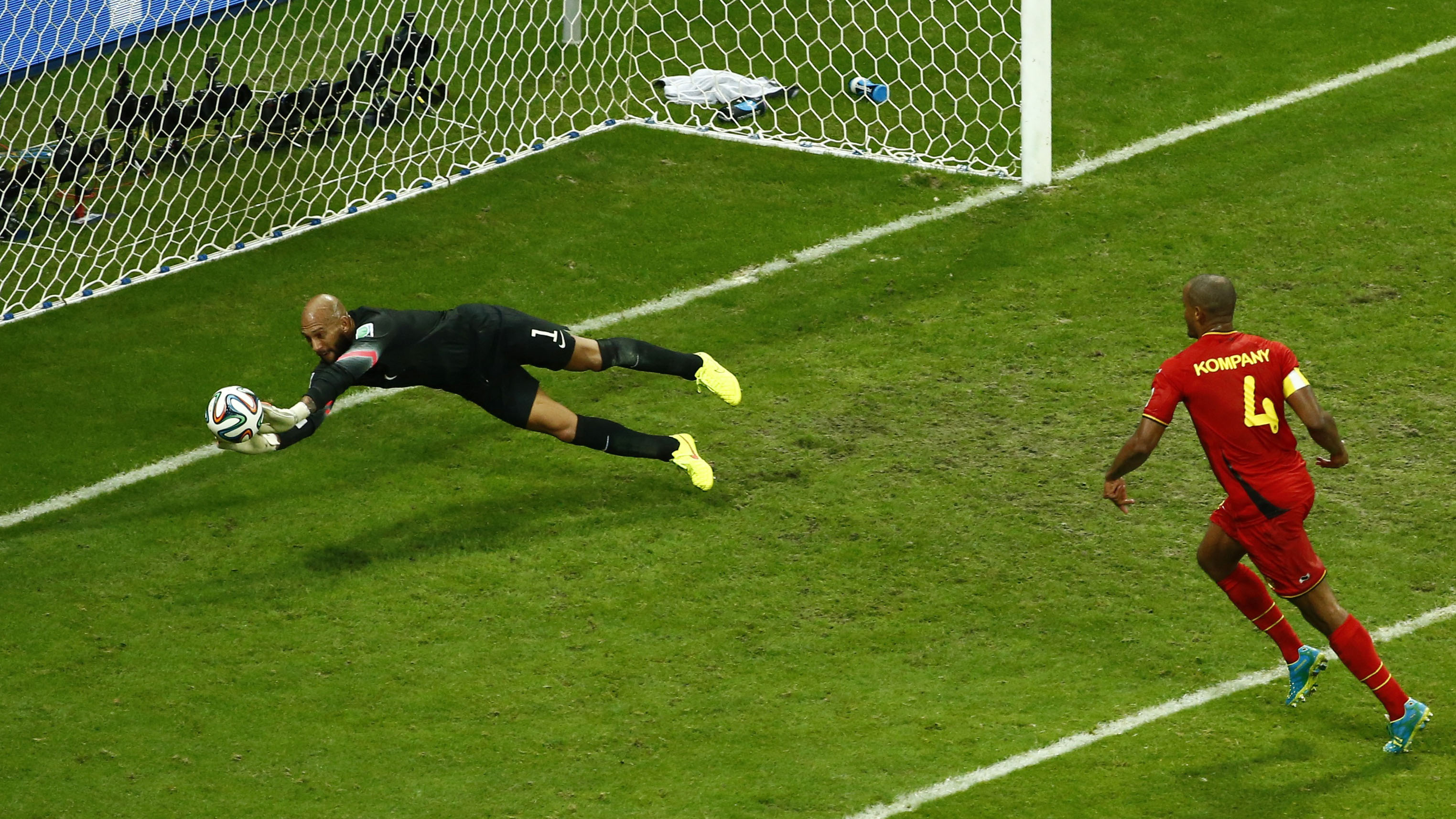 Goalkeeper Tim Howard of the U.S. saves a shot during their 2014 World Cup round of 16 game against Belgium at the Fonte Nova arena in Salvador July 1, 2014.