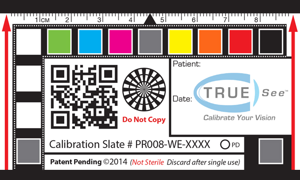 A TRUE-See calibration slate. The device is used to standardize photos of wounds, allowing caregivers to make accurate comparisons and diagnoses.
