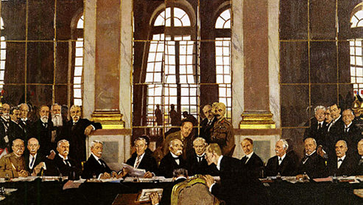 The Signing of Peace in the Hall of Mirrors, Versailles, 28th June 1919 painted by William Orpen.