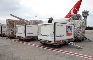 Active temperature control containers carrying China's Sinovac experimental COVID-19 vaccines are loaded onto a TurkishCargoplaneat Ataturk airport before departing to Brazil, in Istanbul, Turkey, Nov. 18, 2020.