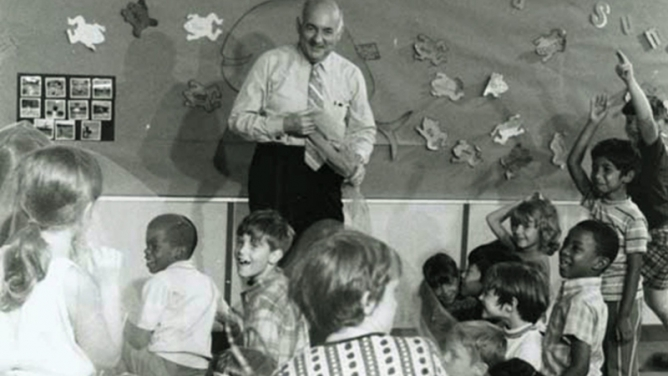 Psychologist E. Paul Torrance, creator of the Torrance Tests, with gifted children at the University of Georgia College of Education in the 1970s