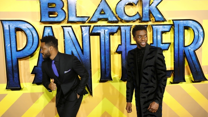 Actor Chadwick Boseman and Director Ryan Coogler arrive
