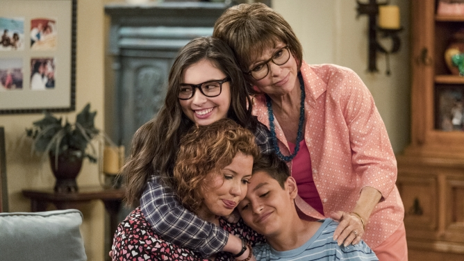 "Justina Machado, Isabella Gomez, Rita Moreno and Marcel Ruiz from ""One Day At A Time."""