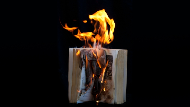 A book on fire.