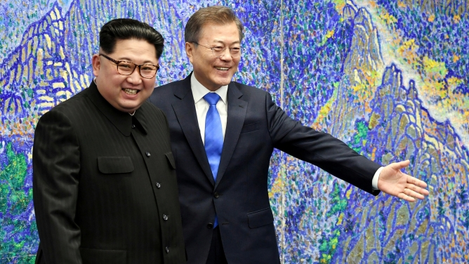 South Korean President Moon Jae-in meets with North Korean leader Kim Jong-un
