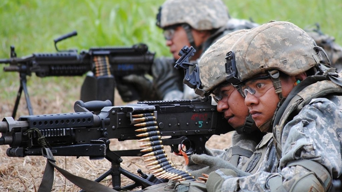 Samoa-based US Army reservists brush up on their combat skills during weapons qualification.