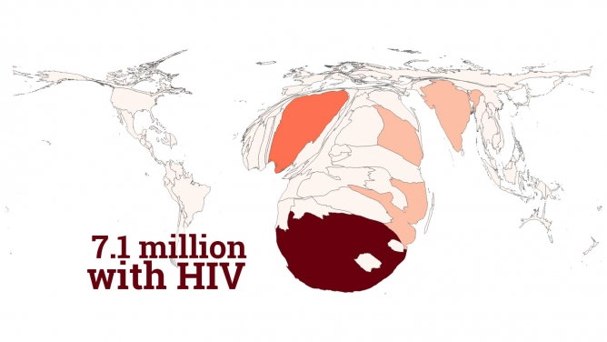 A distorted map is projected based on population living with HIV. In this map, South Africa is the largest country in the world.