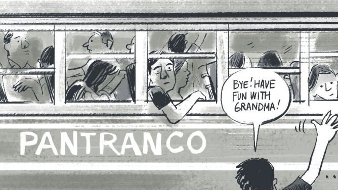 """Someone waves goodbye to a bus and a speech bubble says """"Bye! Have fun with grandma!"""" in this cartoon."""