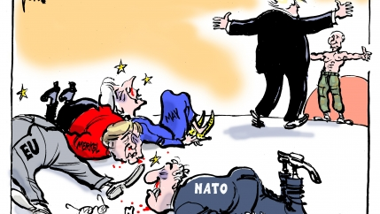 Make way for Trump. Key US allies are doing a lot of wincing and jaw-dropping this week as Trump seems to diss them at every opportunity during his trip to Europe.