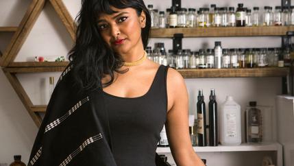 Tanwi Nandini Islam poses in her Hi Wildflower studio in Brooklyn, New York.