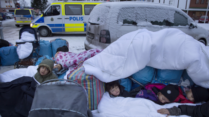 Refugee children sleep outside in Sweden
