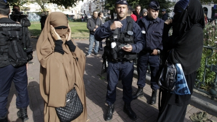 French police check identity cards of two women for wearing full-face veils