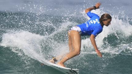 close up of Maya Gabeira surfing