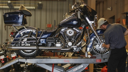 A technician services a Harley-Davidson Classic at Harley-Davidson of Frederick in Maryland.