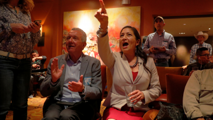 Democratic congressional candidate Deb Haaland reacts upon learning that fellow Native American Sharice Davids of Kansas also won her midterm election