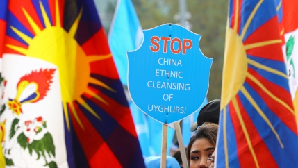 A woman's face appears amidst colorful signs protest against China's Uyghar detention centers.