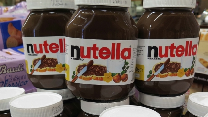 Stacked jars of nutella