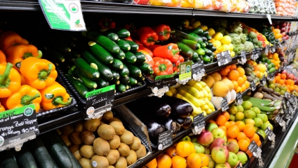 Organic vegetables in the supermarket