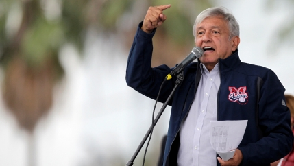 Mexico's President-elect Andres Manuel Lopez Obrador waves to a crowd