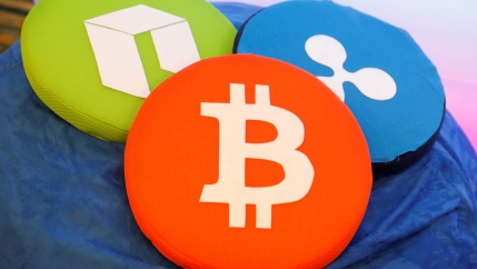 bitcoin logo on pillow