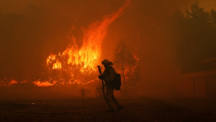 California fire firefighter with flames