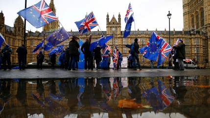 Anti-Brexit demonstrators carry UK and EU flags outside the Houses of Parliament in London, Britain.