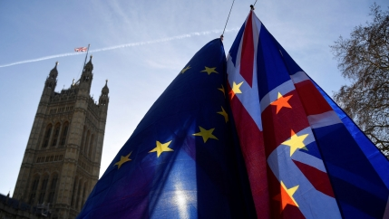 Demonstrators hold EU and Union flags shown in this photograph back lit by the sun with the Houses of Parliament in the background.